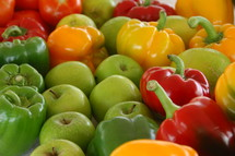 red, yellow, and green vegetables and fruits