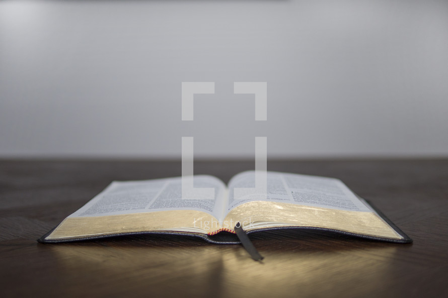 open Bible on a desk ready for a Bible study or small group lesson.