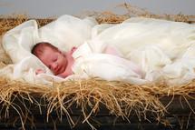 Baby Jesus in the manger.