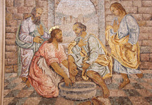 Mosaic of Jesus washing the feet of his disciples