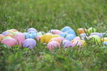 Multi colored plastic Easter eggs in the grass