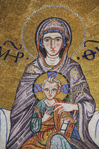 Tile mosaic of Mary and baby Jesus