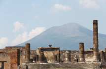 Roman ruins in Pompeii in front of  Mr Vesuvius