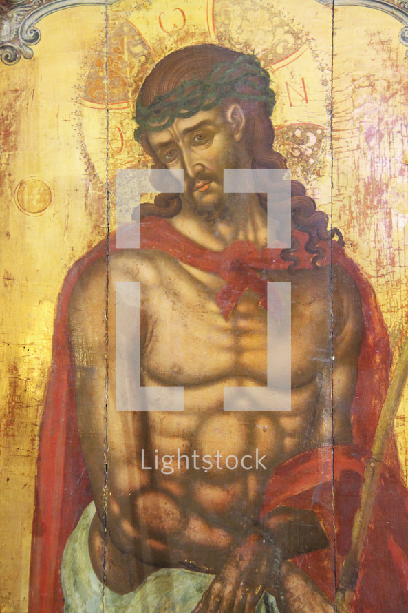 Icon Painting of Jesus  wearing crown of thorns