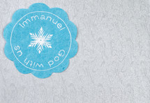 Immanuel God with us badge and snowflake