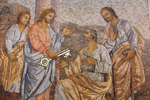 Mosaic of Jesus giving the keys of the Kingdom to Peter