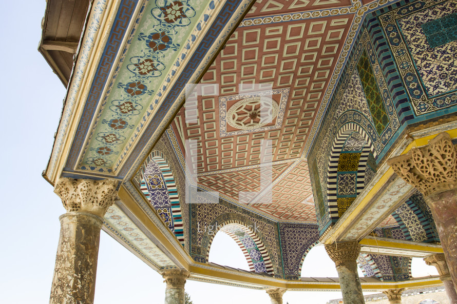 mosaic tiles on a temple ceiling