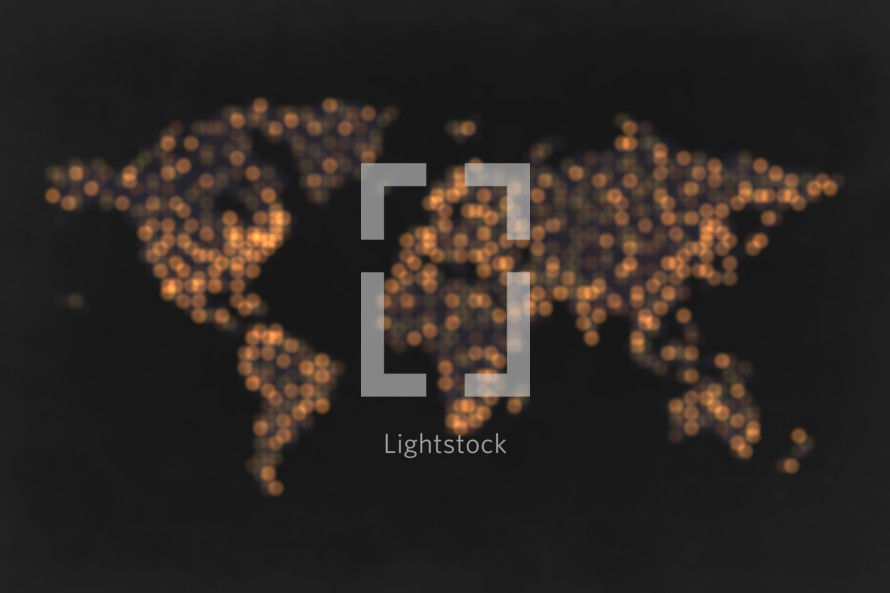bokeh world map of lights.