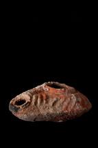 ancient terracotta oil lamp