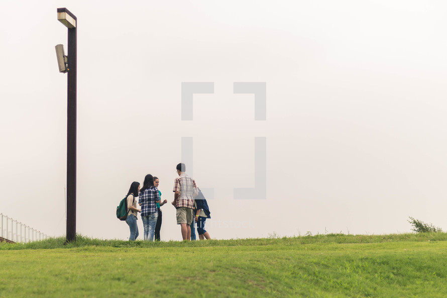 teen gathered to talk after school