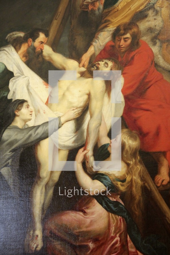 Painting of Jesus' body being taken down from the cross