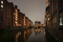 canal and brick apartment buildings
