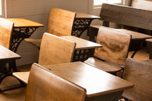 student desks in a classroom