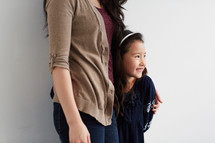 mother and daughter in studio