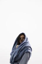 Mary in a blue shroud