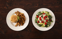 food choices, burger and fries or salad