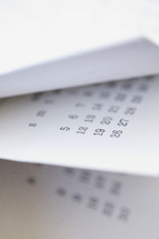 flipping the pages of calendar