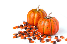 Orange pumpkins and candy corn.