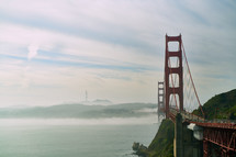 View of the Golden Gate Bridge across the San Francisco Bay.