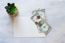 Money, blank paper, and house plant on a white marble counter top.