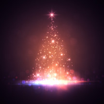 A Christmas tree of white lights with a purple haze background.