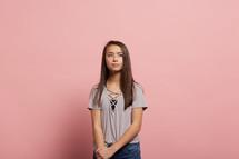 a shy teen girl