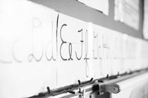 Cursive Alphabet border in a classroom