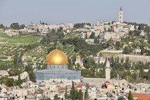 Jerusalem Skyline with Dome of the Rock and Mount of Olives in Background