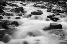 water flowing in a river