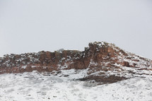 snow on a rock peak