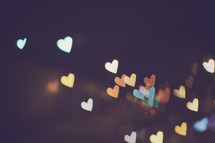 heart shaped bokeh at night.