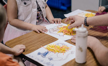 preschool kids doing crafts