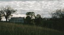 an old mint green farmhouse
