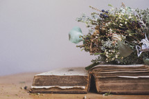 an old Bible and dried flowers