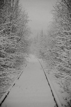 snow covered winter path