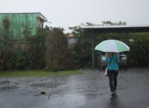 woman walking in the rain holding an umbrella