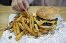 fast food, hamburger and fries