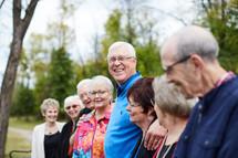 senior citizen fellowship group standing together