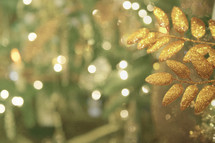 bokeh lights and gold leaves