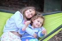 sisters in a hammock