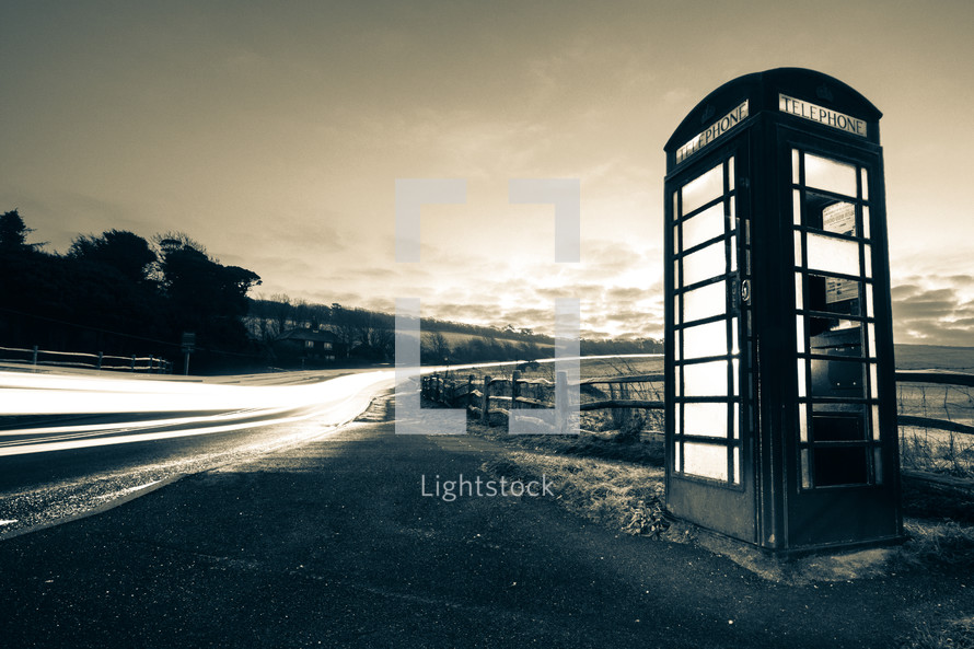 telephone booth along the side of the road