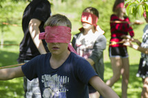 blindfold trust challenge on retreat