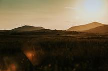 hills at sunset