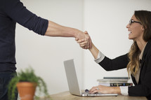 a handshake in the office