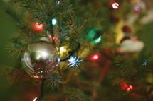 Christmas tree, ornaments, and lights