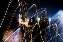 streaks of light at night