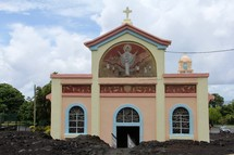 Notre Dame Des Laves Church, spared from a volcanic eruption