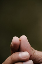 fingers holding a tiny mustard seed