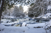 river rapids and snow