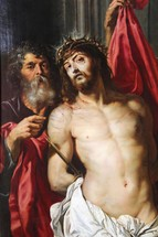 Christ crowned with thorns, given a 'royal robe' and prepared for crucifixion